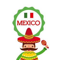 cartoon mexican man in a sombrero and poncho and vector image