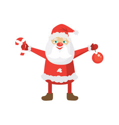 cartoon santa in red hat holding christmas ball vector image