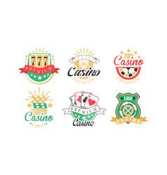 Casino and card poker logo design set vector