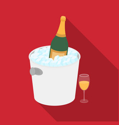 Champagne bottle in an ice bucket icon in flat vector