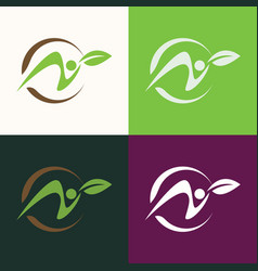circle green people logo vector image