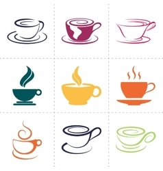 Coffee icons set also as emblem such a logo vector image