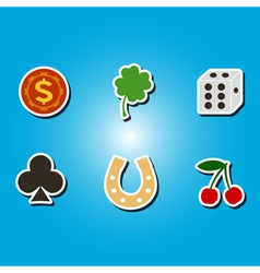 color icons with symbols of gambling vector image