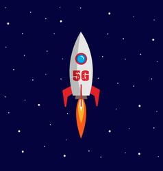 concept 5g telecommunication with rocket and fast vector image