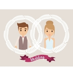 Couple cartoon crown wedding icon graphic vector