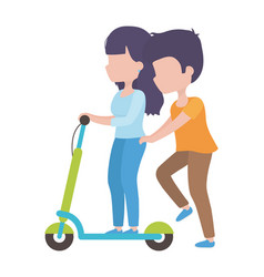 Couple riding electric scooter cartoon characters vector