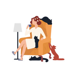 crazy cat lady sitting in armchair surrounded by vector image