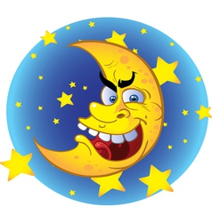 crazy moon vector image
