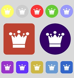 Crown icon sign 12 colored buttons Flat design vector