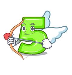 cupid character number five at wooden door vector image