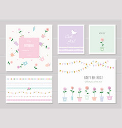 cute cards for girls can be used for baby shower vector image