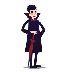 Cute Vampire boy with red umbrella vector