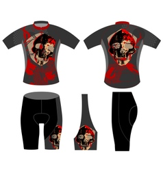 Cycling vest skull scene vector
