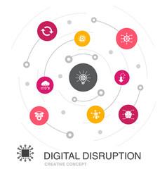 Digital disruption colored circle concept vector