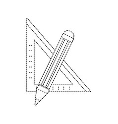 Dotted shape square ruler with pencil school tools vector