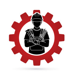 Engineer cartoon designed on gear background vector