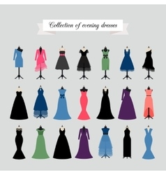 Evening Party Dresses Icons vector