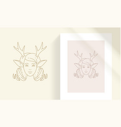 female faun head with antlers silhouette linear vector image