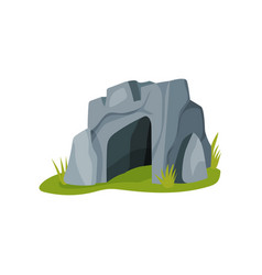 Flat icon of big gray cave isolated on vector