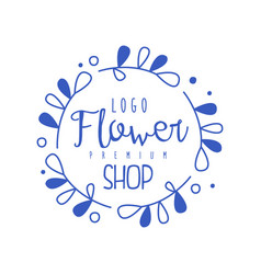 Flower shop logo premium hand drawn vector