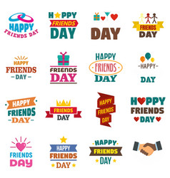 Friends day logo set flat style vector
