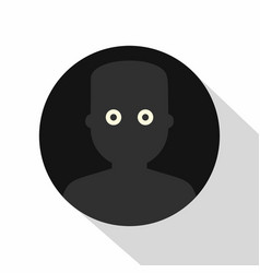 Frightened man in the darkness icon flat style vector