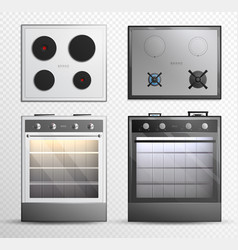 gas electric cook top stove icon set vector image