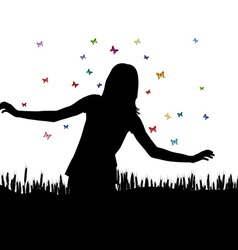Girl playing with butterflies vector image