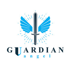Graphic sword created with bird wings battle vector
