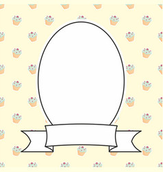 hand drawn decorative frame on sweet cake backgrou vector image