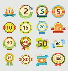 happy birthday badges set anniversary card vector image vector image