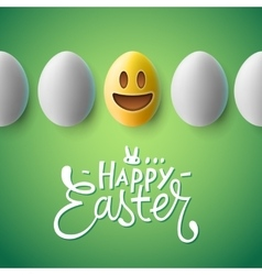 Happy Easter poster easter eggs with emoji face vector