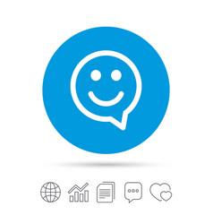 Happy face speech bubble symbol smile icon vector