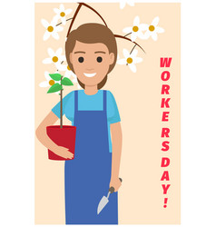 Happy gardener with plant on card for workers day vector