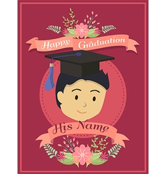 Happy Graduation Boy Red Greeting Card vector