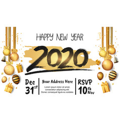 Happy new year 2020 black number with golden vector