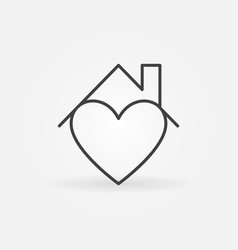 heart under house ro line icon - stay at vector image