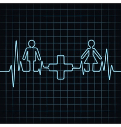 Heartbeat make malefemale and medical symbol vector image