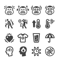 Heat stroke icon set vector
