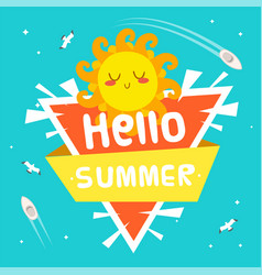 hello summer ribbon sun triangle background vector image