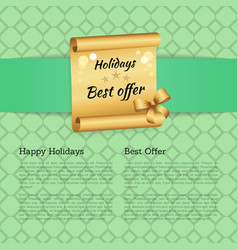 Holiday best offer on golden scroll decorated bow vector