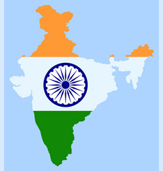 india map and indian flag oriental country vector image