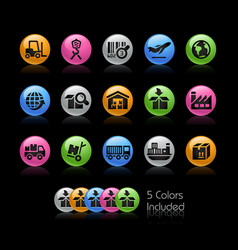 industry and logistics icons - gelcolor series vector image