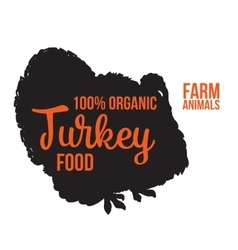 Isolated lettering farm turkey on a white vector