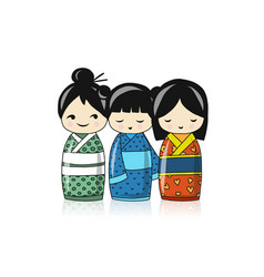 japanese dolls sketch for your design vector image