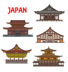 japanese temples shrines buildings japan pagodas vector image