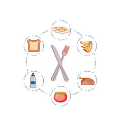 kitchen fork with knife and set icons vector image