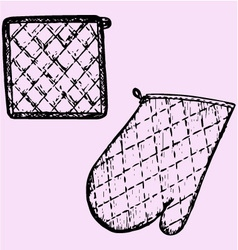 Kitchen glove potholder vector