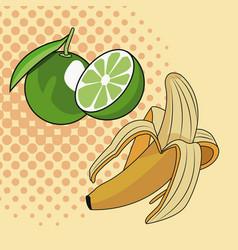 Lemons and banana pop art vector