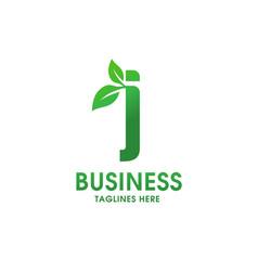 letter j with leaf logo vector image vector image